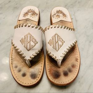 Jack Rogers mBs Monogrammed White Leather Sandals